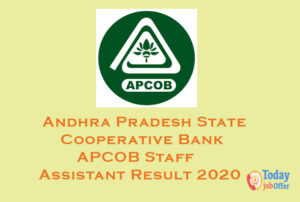 APCOB Staff Assistant Result 2020