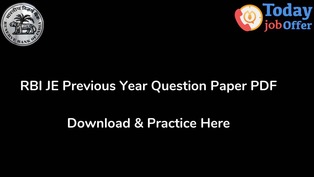 RBI JE Previous Year Question Paper PDF